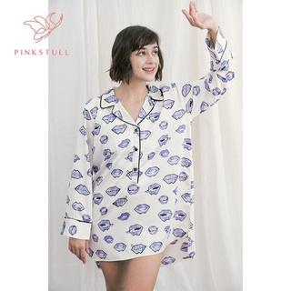 Áo ngủ lụa Pijama Pink Stull họa tiết môi tím thumbnail