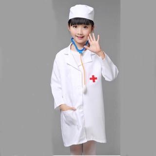 Áo Bác Sĩ Cho Bé Làm Bác Sĩ Hàng May Vải Đẹp Tay Ngắn