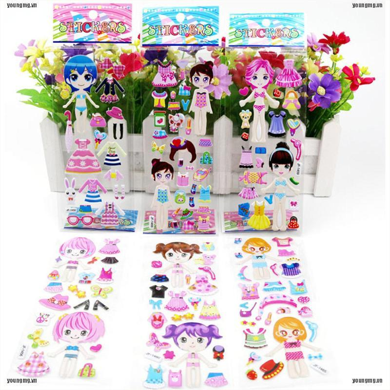 YG 5 Sheets 3D Puffy Bubble Stickers Toys Dress up Girl Changing Clothes Kids Toys