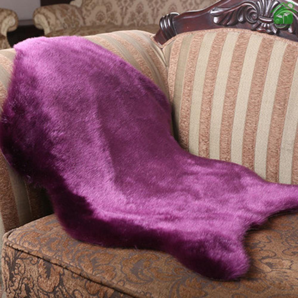 Thảm Lông Cừu Nhân Tạo Siêu Mềm Màu Tím Có Thể Giặt Sạch Trang Trí Phòng Khách / Phòng Ngủ