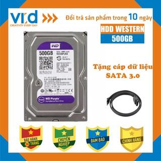 Ổ cứng HDD 500GB Wesstern Tím - Tặng cáp sata 3.0 - Bảo hành 24T- Hàng nhập khẩu tháo máy đồng bộ mới 98%