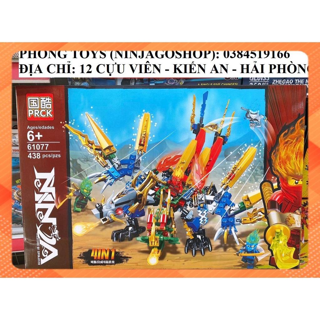 Lắp ráp xếp hình Lego 4 in 1 NINJAGO SEASON 13 PRCK 61077 : Rồng 2 đầu mới  nhất của KAI 438 mảnh