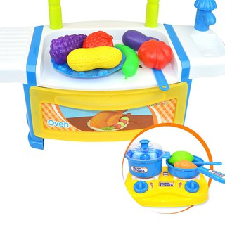 Inbeajy AG281-1A Toy Kictchen Pretend Play Food Cook for Fun -Blu