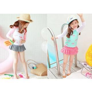 Bộ đồ bơi bé gái ,đồ bơi 2 mảnh dài tay xanh, hồng bé gái, chất bơi lyrca Hàn đẹp chống tia UV