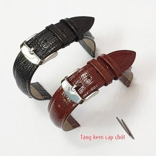 Dây da đồng hồ nam, da bò dập vân thằn lằn, tặng kèm cặp chốt - D2008