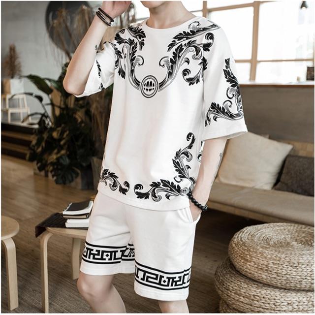⚡️[FREESHIP]Bộ quần áo hè nam Hoa lá Cành Cực chất