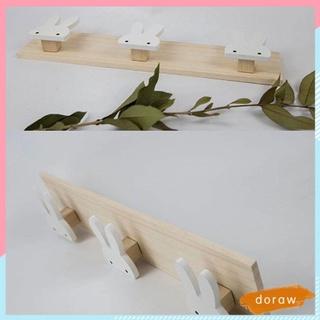 DORAW Patterned Wood Hook Hangers Organizer Storage Punch-free Door Hanger Removable Behind The Door Key Holder Shelf Rabbit-shaped