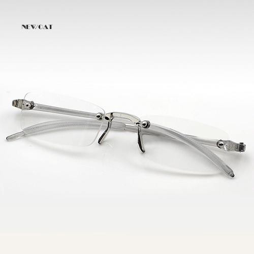 ღNK_Men Women Lightweight Clear Rimless Resin Reading Glasses +1.00 to +4.00