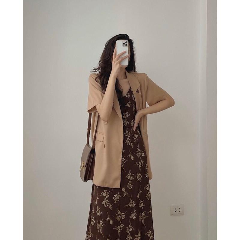 Áo vest, blazer 1 lớp cộc tay trơn, túi nắp mặc đi làm - Kết hợp váy 2 dây max xinh luôn - Freesize