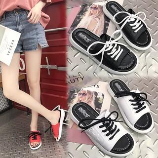 Women Summer Fashion Concise Personality All-match Anti-slip Slip-on Flat Wear-resistance Slipper