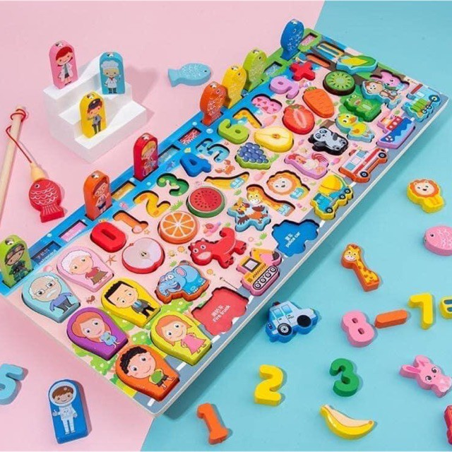 Bộ bảng số thông minh, bộ đồ chơi câu cá và ghép số học đếm mẫu mới nhất 2020 cho bé yêu