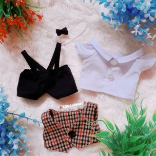 Outfix doll 20cm. Áo gilê + quần yếm +áo sơ mi trắng+nơ