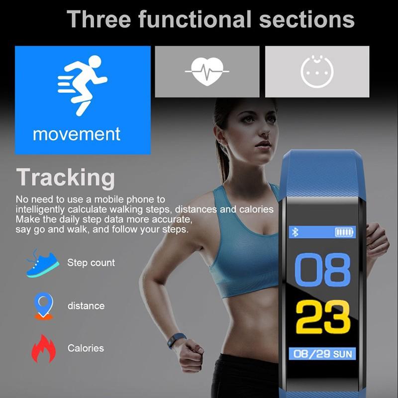Đồng Hồ Thông Minh 115 Plus Màn Hình Màu Hỗ Trợ Đo Nhịp Tim / Huyết Áp App 50 Mah