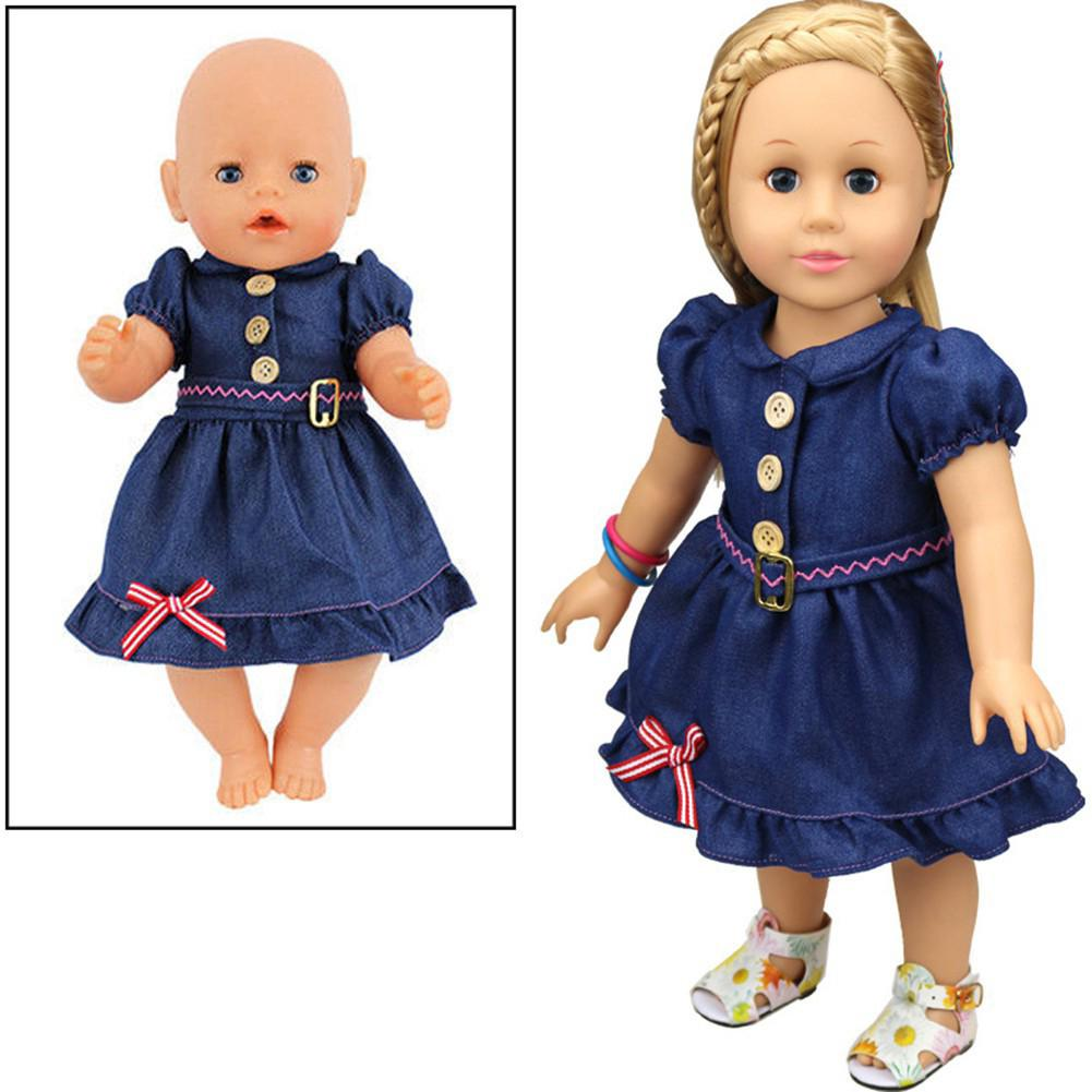 Denim Skirt Dress Doll Clothes Wear for 43cm/16.93in Baby Born / 18