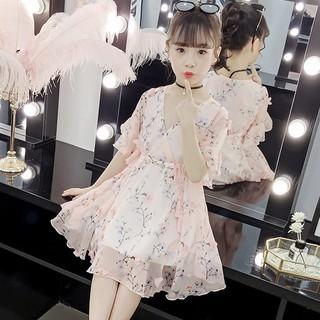 Đầm voan họa tiết hoa tay ngắn xinh xắn cho bé gái
