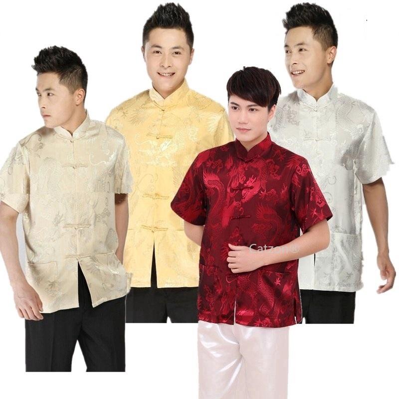 Áo sơ mi nam ngắn tay họa tiết rồng phong cách Trung Hoa
