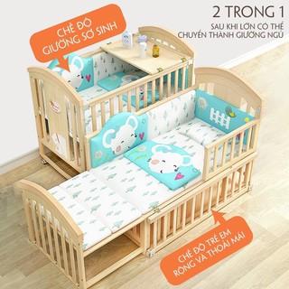 Giường cũi trẻ em kèm đệm kéo dài 165cm
