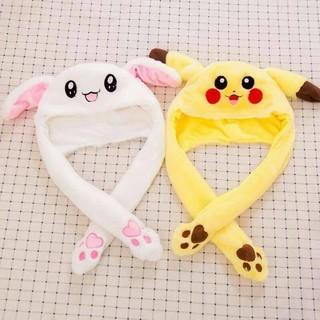 Mũ trùm đầu tai thỏ, pikachu điều khiển tai