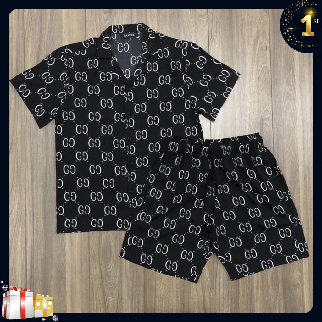 Bộ quần áo ngủ nam cổ bẻ GG cao cấp chất lụa mát mịn Giá Rẻ