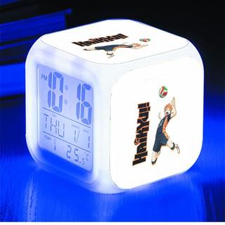 Đồng hồ báo thức để bàn in hình Haikyuu! Vua bóng chuyền anime chibi LED đổi màu