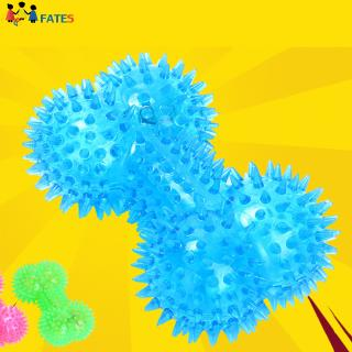 Pet Rubber Colorful Elastic Flash Light Up Sound Bone Shaped Spiky Balls Dog Toy Molar Interactive