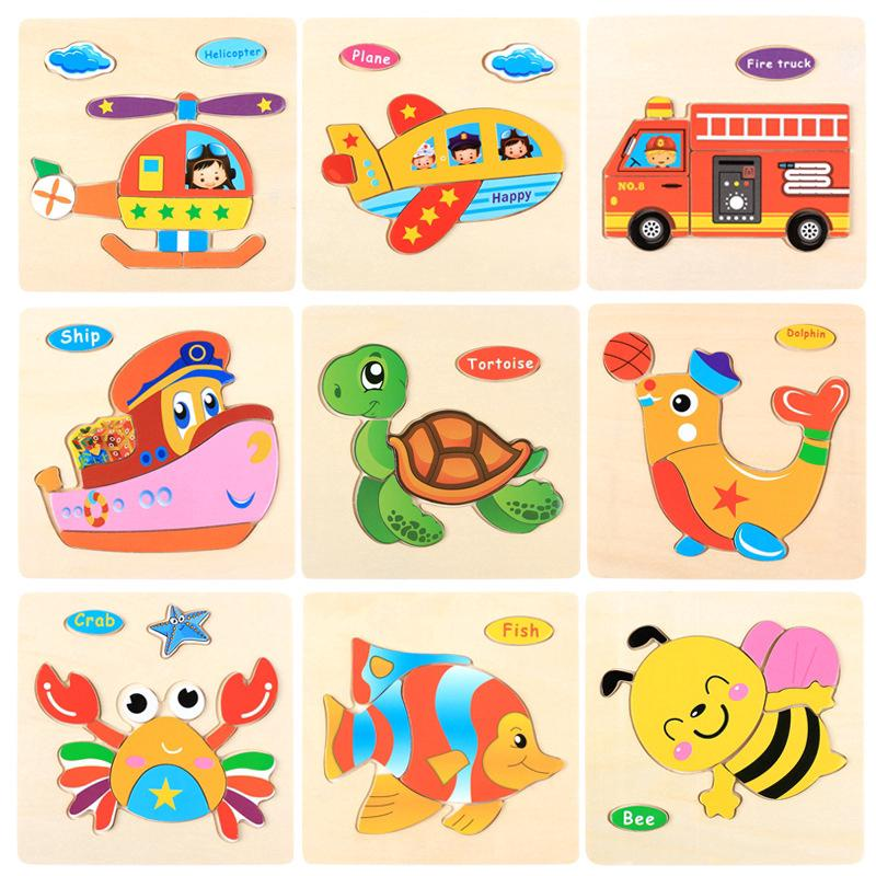 Wooden 3D Puzzle Jigsaw Toys For Children Cartoon Animal Puzzles Intelligence