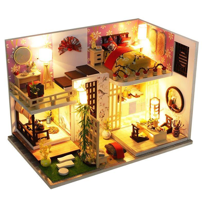 Kèm Mica và keo dán – Mô hình nhà gỗ búp bê Dollhouse DIY – M027A Bamboo House