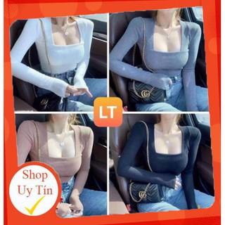[Mã FASHIONRNK giảm 10K đơn 50K] Áo Croptop Tay Dài Nữ [HOT] áo thun Cổ Vuông – chất len tăm cao cấp