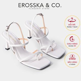 Hình ảnh [Mã FASHIONMALLT4 giảm tới 30K đơn 150K] Giày cao gót Erosska phối dây xỏ ngón cao 7cm màu trắng _ BM004-0