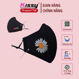 Khẩu trang vải 3 lớp Kissy người lớn size hạo tiết thêu hoa và chống bụi mịn hiệu quả thumbnail