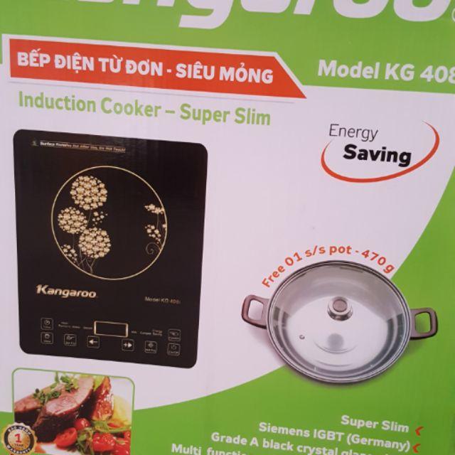 Bếp từ kangaroo kg 408i tặng kèm 1 nồi lẩu cam kết hàng chính hãng bảo hành 12 tháng tại nhà. Hàng kém chất lượg trả lại