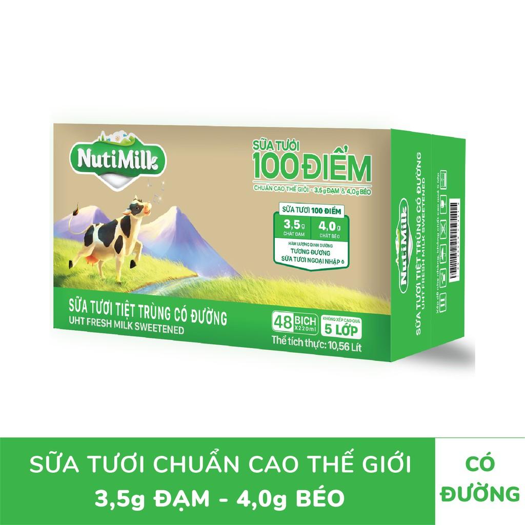Thùng 48 bịch NutiMilk Sữa tươi 100 điểm có đường bịch fino 220ml/bịch