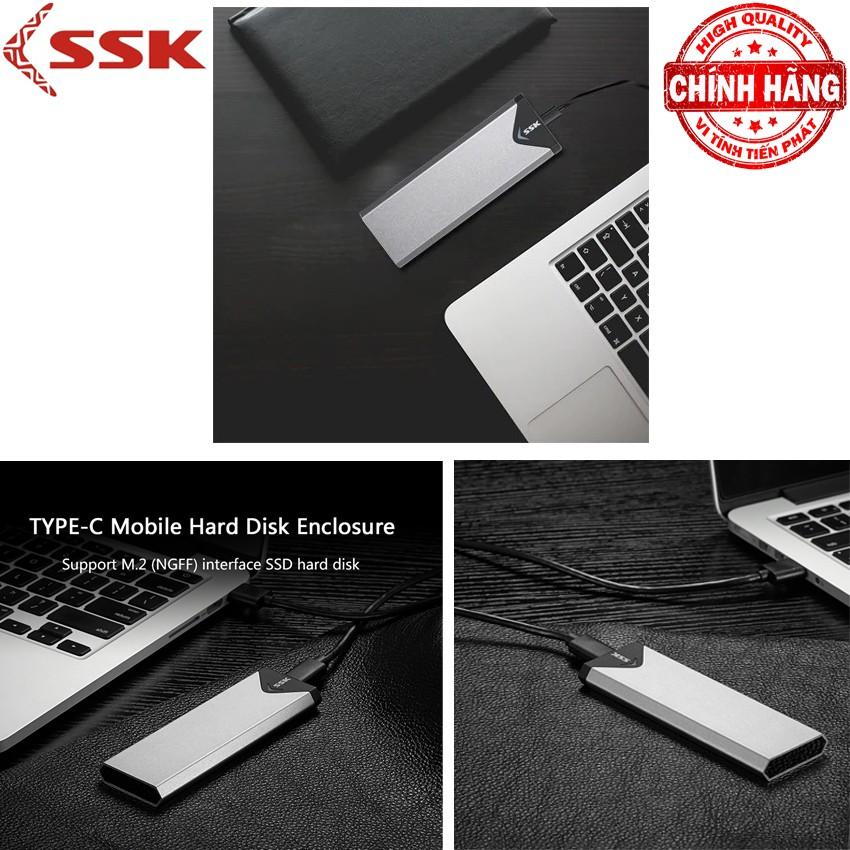 Hộp đựng BOX SSD M.2 SATA | Chuyển SSD M2 Sata sang ổ cứng di động USB 3.0 - SSK SHE-C320 chuẩn USB 3.0 - 5Gbps M.2