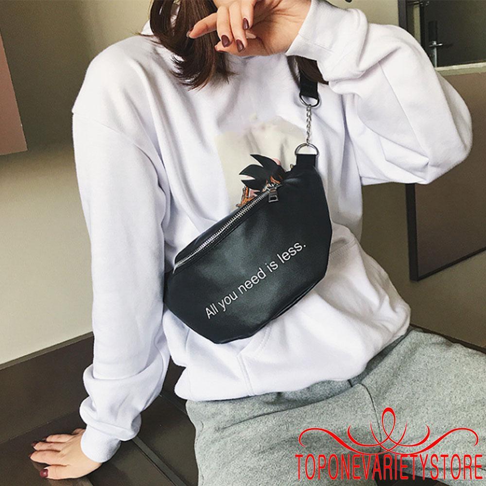 Túi đeo chéo in họa tiết chữ đơn giản phong cách hiphop cho nữ