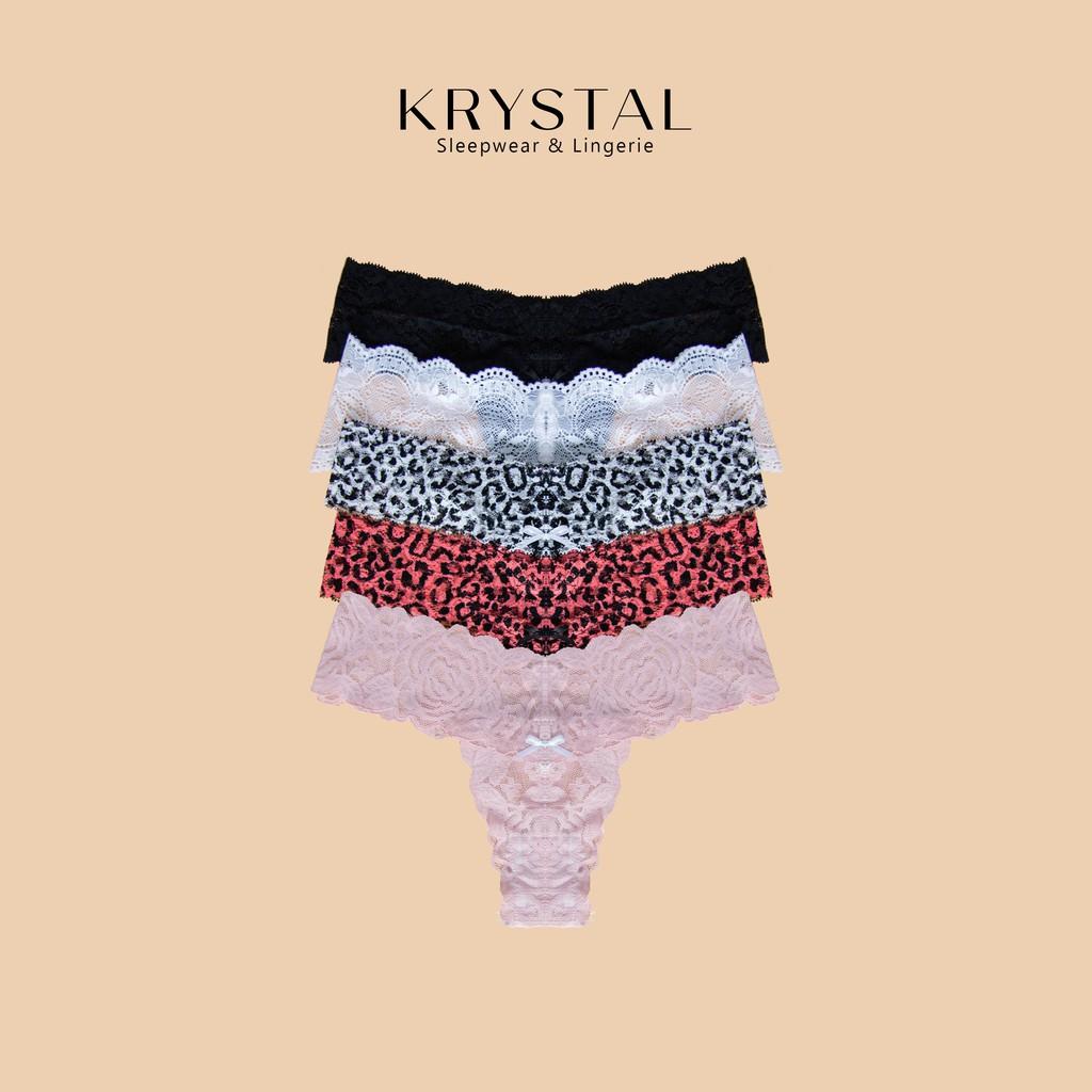 Combo 5 quần lót ren lọt khe chữ T sexy gợi cảm màu họa tiết KRYSTAL KQTC5-02
