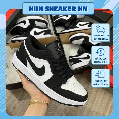 Giày 𝐉𝐨𝐫𝐝𝐚𝐧 1 low panda màu đen trắng nam nữ, Giày JD1 low panda bản đẹp màu đen trắng basic full box bill