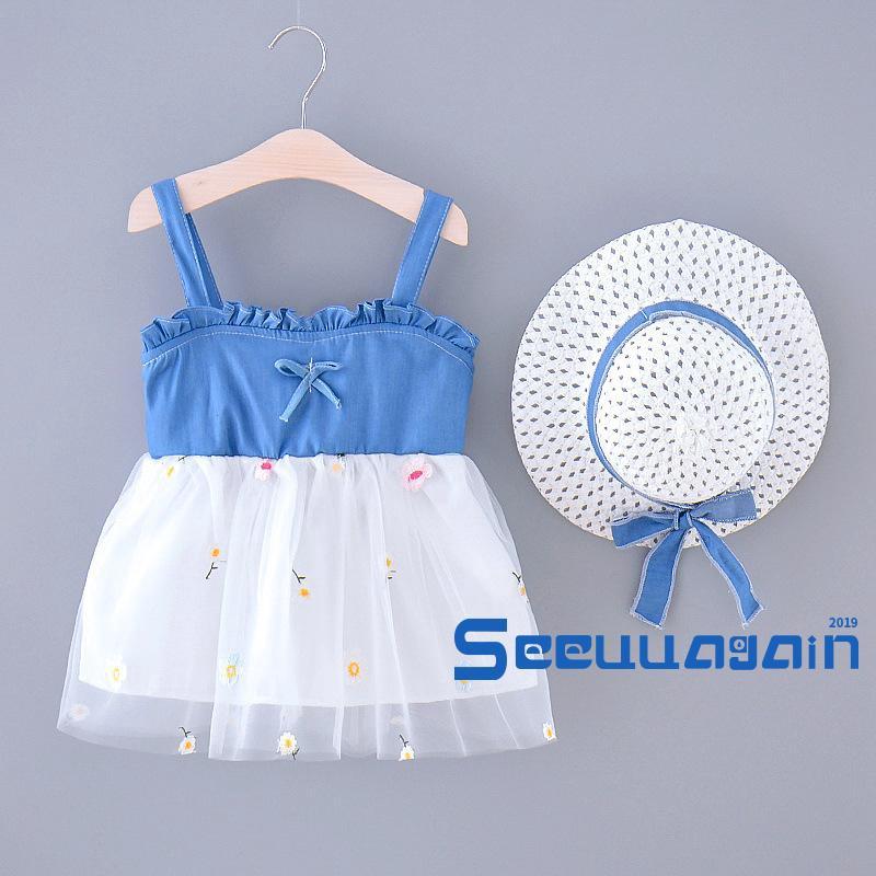 Đầm Yếm Phối Ren Xinh Xắn Cho Bé Gái
