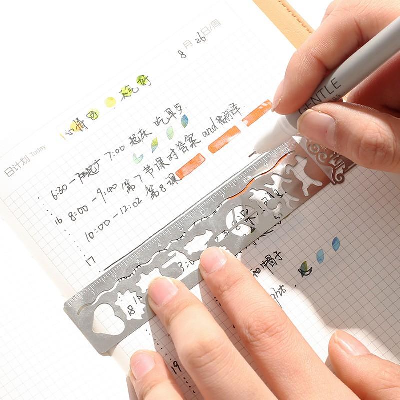 Thước sắt 10 cm nhiều hoạ tiết (có thể làm bookmark)