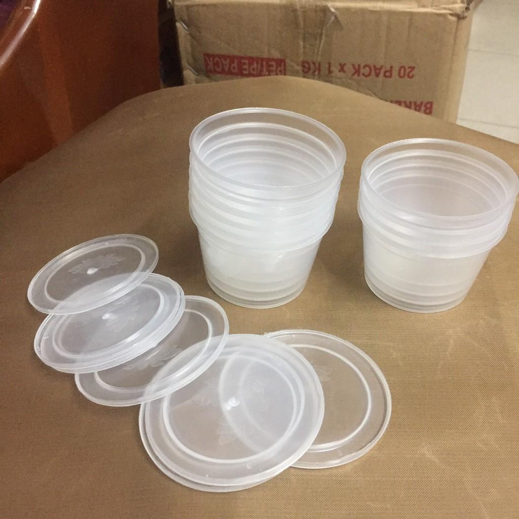 10 Hủ nhựa làm bánh flan caramen, rau câu, sữa chua, đựng slime (hộp flan có nắp)