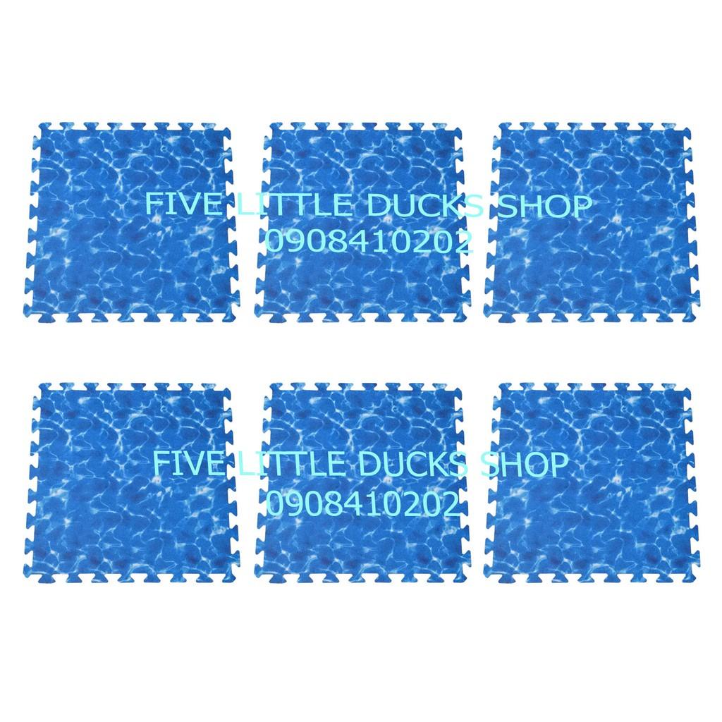 Combo 6 tấm Thảm xốp lót sàn cho bé hình sóng biển – màu xanh dương (60x60cm)