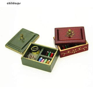 Retro Mini Wood Sewing Box Needle Thread Ruler Miniature for 1/12 1/6 Doll House