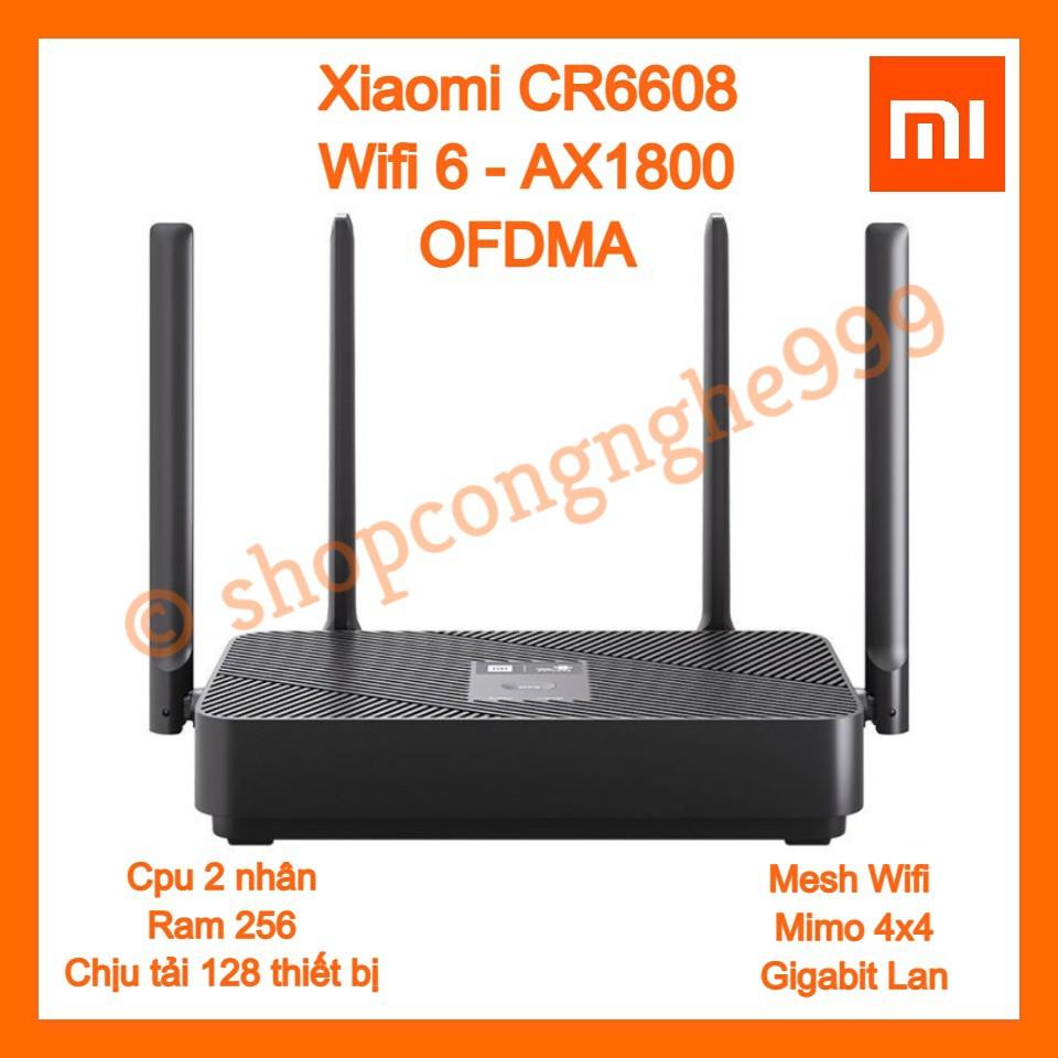 Bộ phát wifi router wifi Xiaomi CR6608 [Tiếng Việt] chuẩn WIFI 6 AX1800 Mesh Lan Gigabit 4 anten chịu tải 128 máy