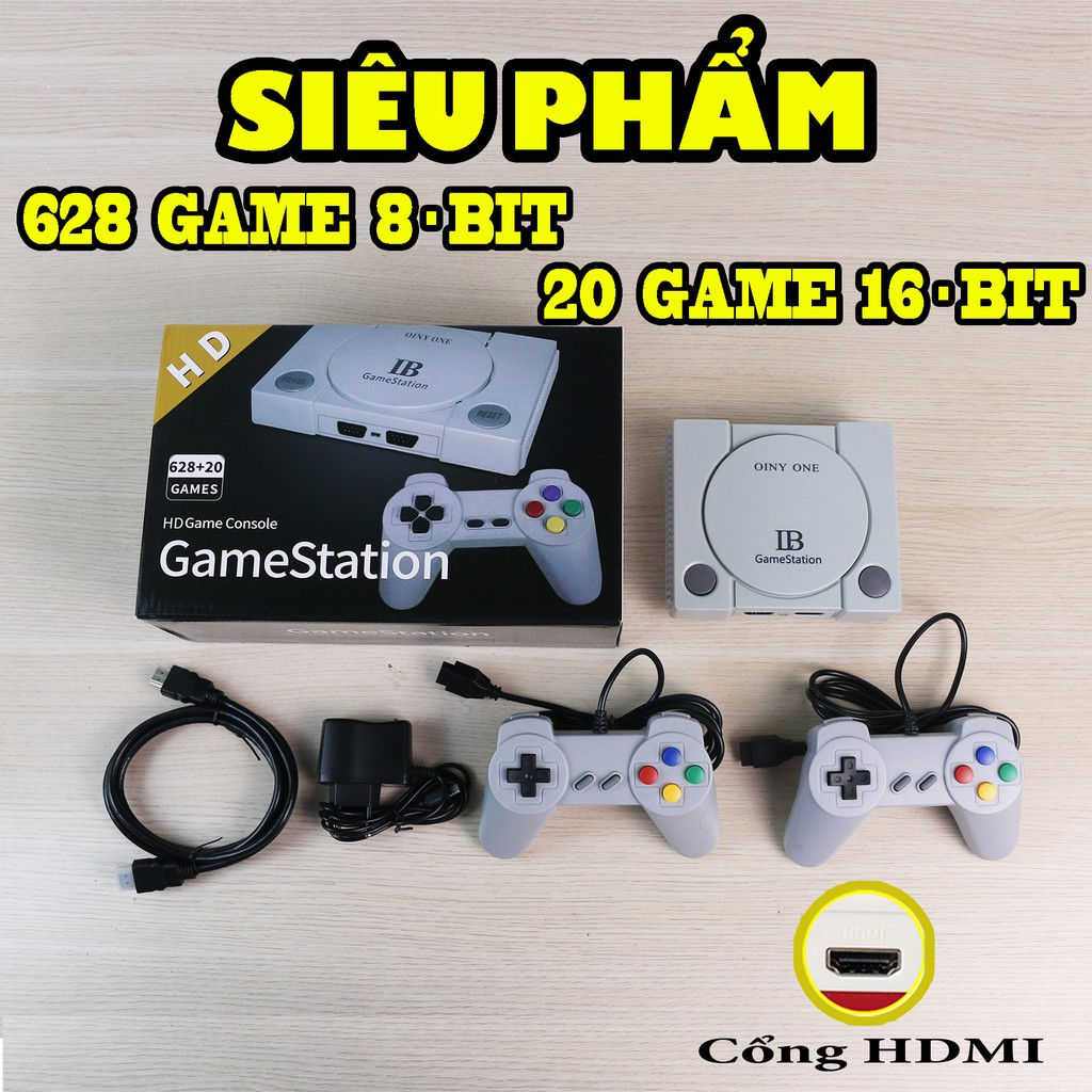 Máy chơi game 4 nút GameStation IB, cổng HDMI sắc nét, 628 game 8bit, 20 game 16bit