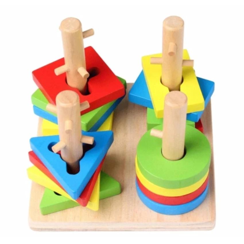 Bộ đồ chơi xếp hình 4 trụ cột bằng gỗ - 2710607 , 394895106 , 322_394895106 , 155000 , Bo-do-choi-xep-hinh-4-tru-cot-bang-go-322_394895106 , shopee.vn , Bộ đồ chơi xếp hình 4 trụ cột bằng gỗ