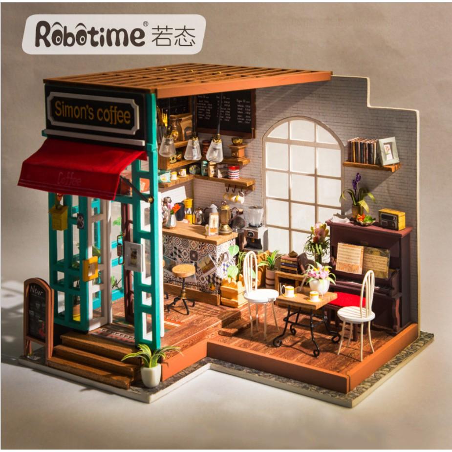Nhà búp bê DIY Robotime mô hình cửa hàng Cafe của Simon - Simon