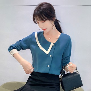 Korean Vintage Blue Chiffon Casual Blouse Women Autumn Long Sleeve Loose Button Top