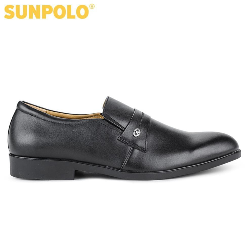 [Sale 3/3]Giày Tây Nam Da Bò SUNPOLO Đen Nâu - SUKT0531DN -x13