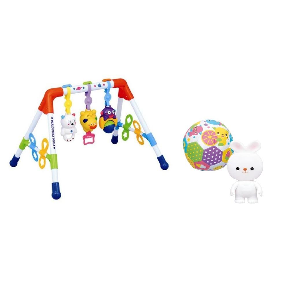 Bộ Kệ chữ A tập luyện đa năng Toyroyal 114368 và Bộ 2 đồ chơi bóng lục lạc và chút chít thỏ trắng T
