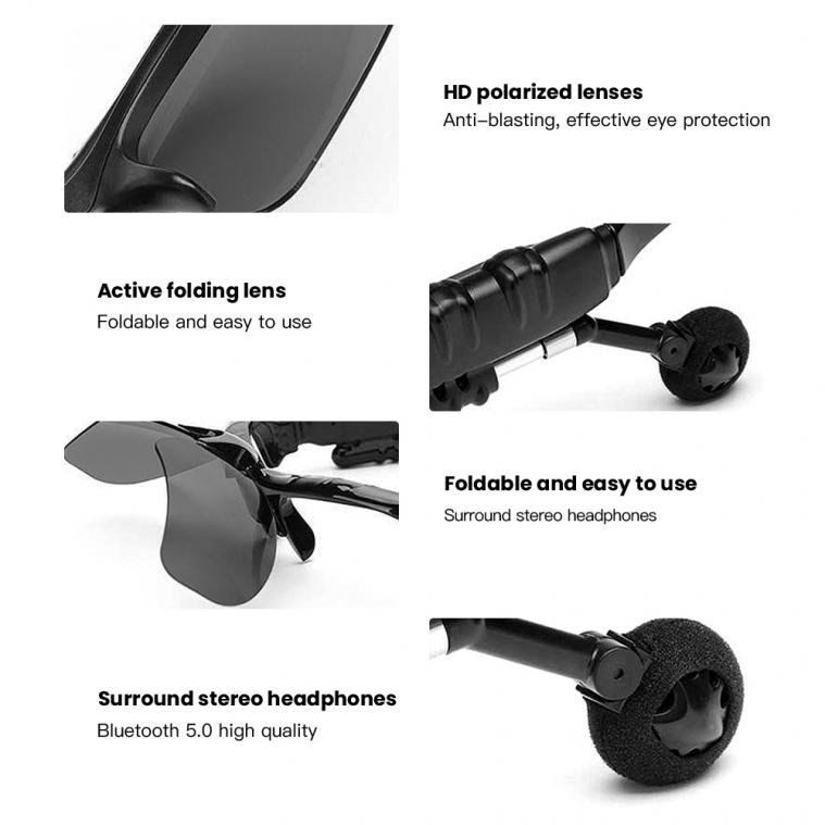 AFON Bluetooth 5.0 PolarizedSun Glasses Headset Wireless Stereo Listening Voice