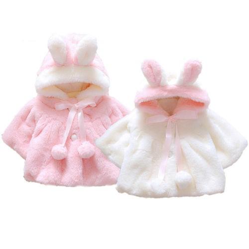 Áo ấm lông có nón trùm hình tai thỏ xinh xắn dành cho bé gái